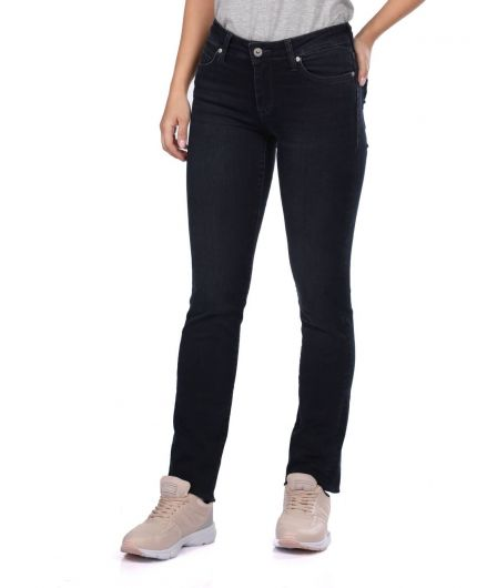 BLUE WHITE - Blue White Women Regular Fit Black Jeans (1)