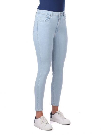 BLUE WHITE - Blue White Women's High Waist Jean Trousers (1)