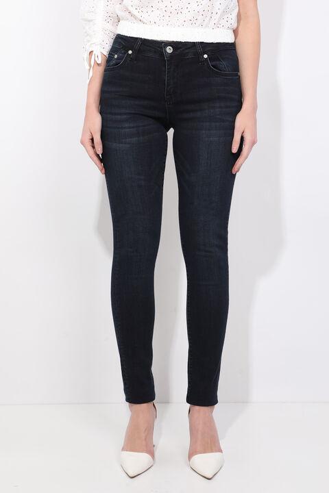 Синие белые джинсы скинни
