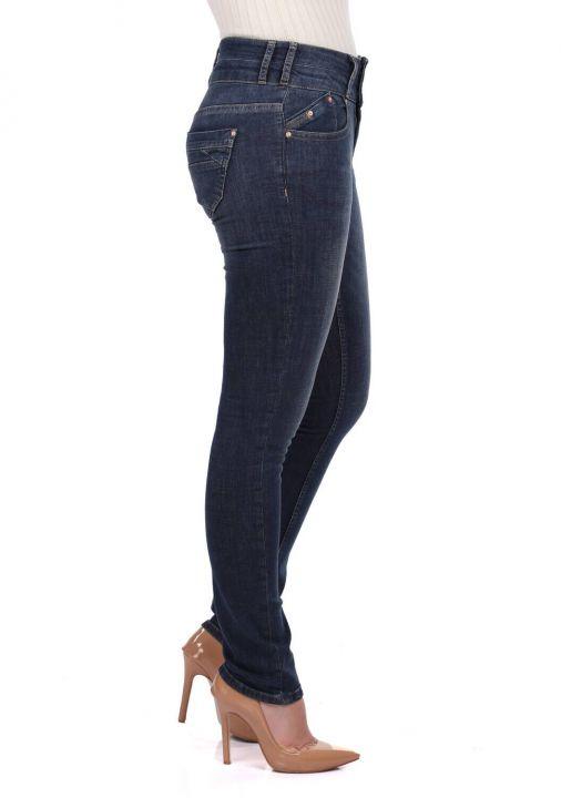 Blue White Two Button Women Jean Trousers