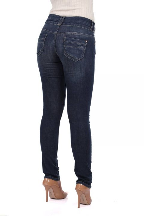 Blue White Two Buttoned Women Jean Trousers