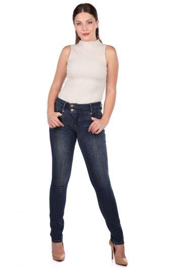 Blue White Two Button Women Jean Trousers - Thumbnail
