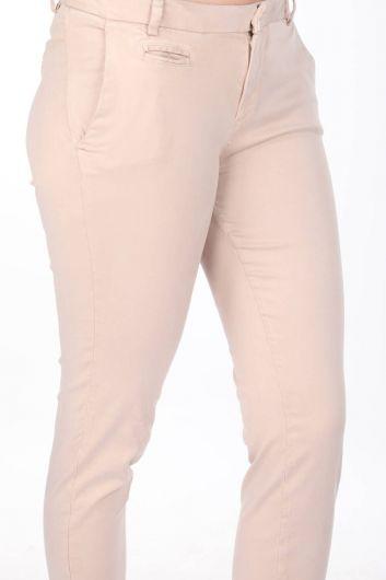 بنطلون جينز نسائي أزرق أبيض إكرو - Thumbnail
