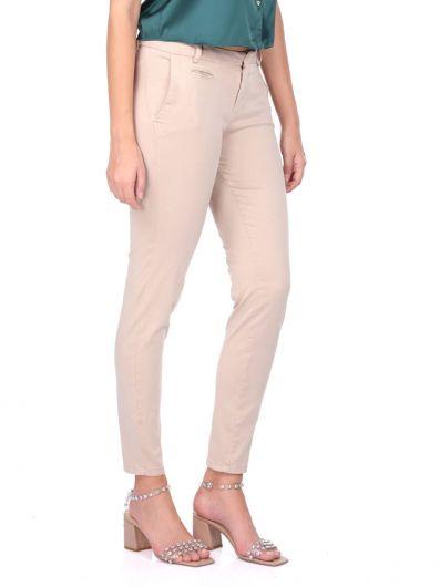 BLUE WHITE - Женские джинсовые брюки с синим и белым экрю (1)