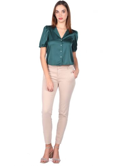 Женские джинсовые брюки с синим и белым экрю - Thumbnail