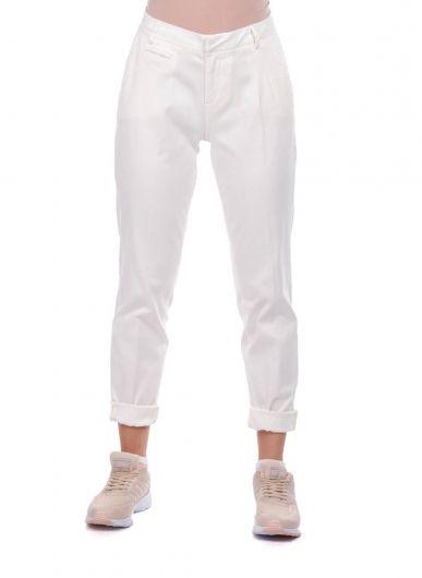 Blue White Women's White Fabric Trousers - Thumbnail