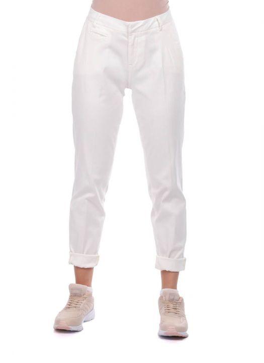 Blue White Women's White Fabric Trousers