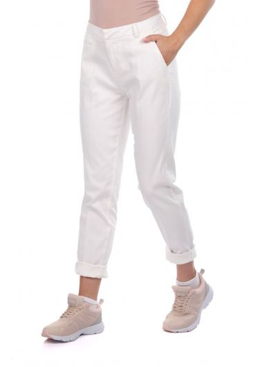 BLUE WHITE - Blue White Women's White Fabric Trousers (1)