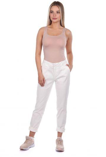Белые женские брюки из ткани белого цвета - Thumbnail