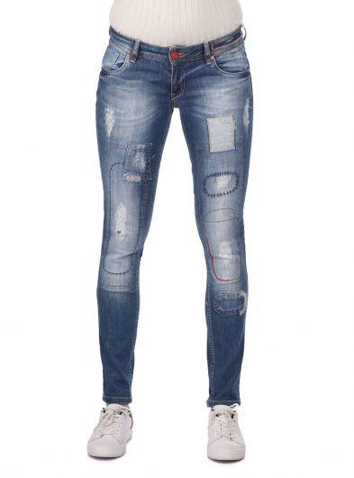 بنطلون جينز نسائي أزرق وأبيض مفصل - Thumbnail