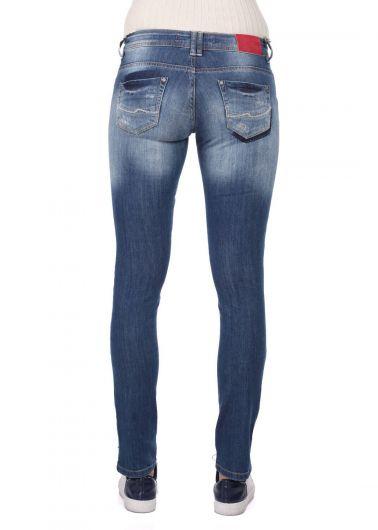 Сине-белые женские джинсовые брюки с детальным рисунком - Thumbnail