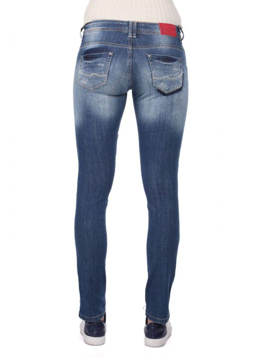 Blue White Women's Pattern Detailed Jean Trousers