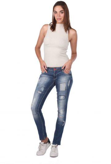 Blue White Women's Pattern Detailed Jean Trousers - Thumbnail