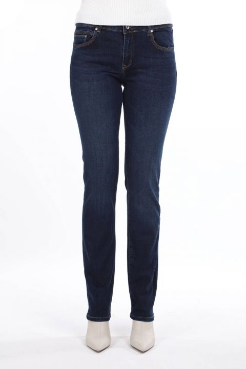 بنطلون جينز أزرق وأبيض مقاس عادي للسيدات باللون الأزرق الداكن
