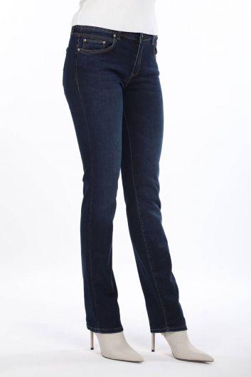 BLUE WHITE - بنطلون جينز أزرق وأبيض مقاس عادي للسيدات باللون الأزرق الداكن (1)