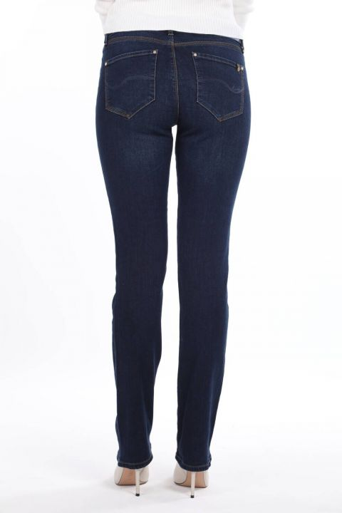 Blue White Women Regular Fit Navy Blue Jean Trousers