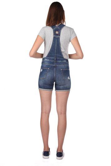 Blue White Women's Ripped Jean Jumpsuit Shorts - Thumbnail