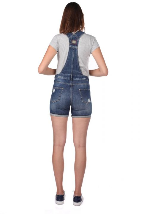 Blue White Women's Ripped Jean Jumpsuit Shorts