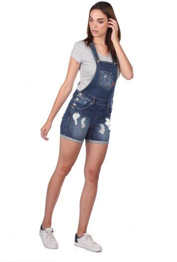 BLUE WHITE - Синий-белый женский рваный джинсовый комбинезон с шортами (1)