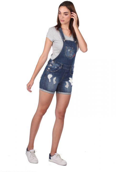 Синий-белый женский рваный джинсовый комбинезон с шортами