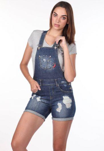 Синий-белый женский рваный джинсовый комбинезон с шортами - Thumbnail
