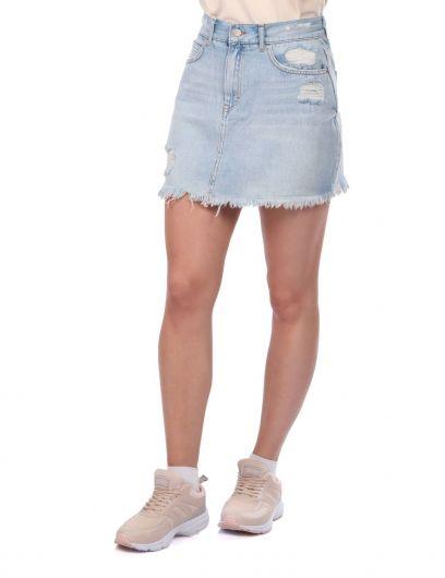 BLUE WHITE - Сине-белая женская рваная мини-джинсовая юбка (1)