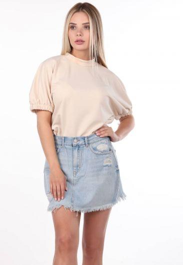 Сине-белая женская рваная мини-джинсовая юбка - Thumbnail
