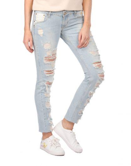 بنطلون جينز أزرق أبيض نسائي ممزق - Thumbnail