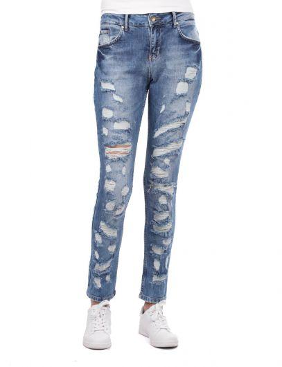 Blue White Women's Dark Ripped Jeans - Thumbnail