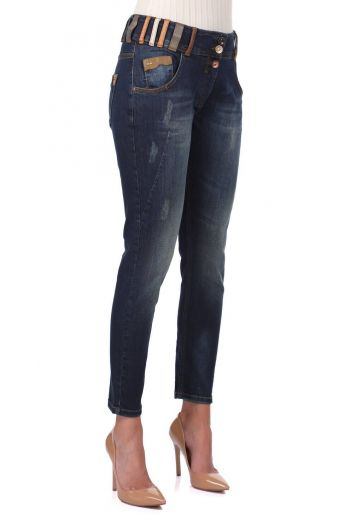 BLUE WHITE - بنطلون جينز ملون بحزام نسائي أزرق أبيض (1)