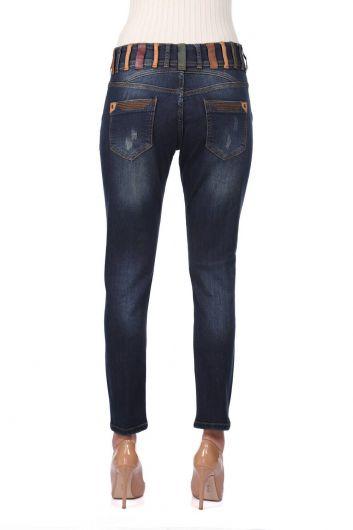 بنطلون جينز ملون بحزام نسائي أزرق أبيض - Thumbnail