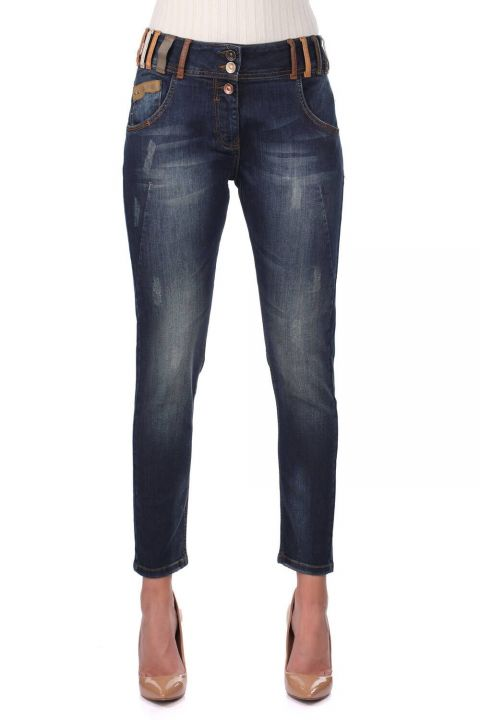 Blue White Women's Colorful Belt Detailed Jean Trousers