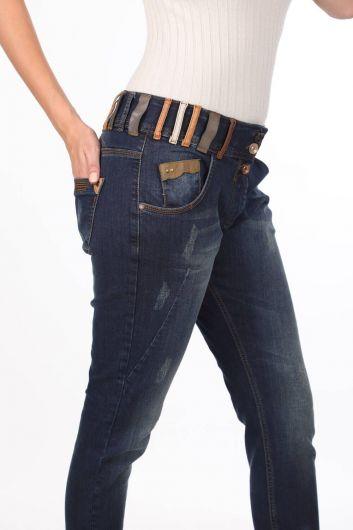 Blue White Women's Colorful Belt Detailed Jean Trousers - Thumbnail
