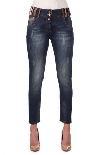 Сине-белые женские джинсовые брюки с ярким поясом - Thumbnail