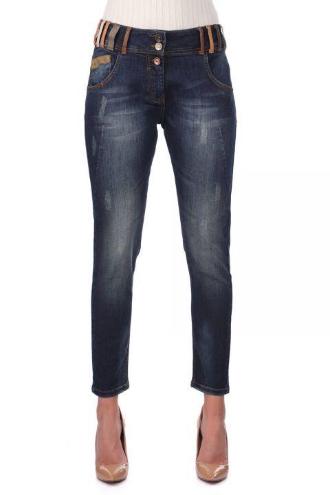 Сине-белые женские джинсовые брюки с ярким поясом
