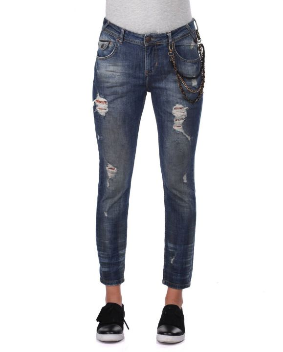 Blue White Women's Chain Detailed Jean Trousers
