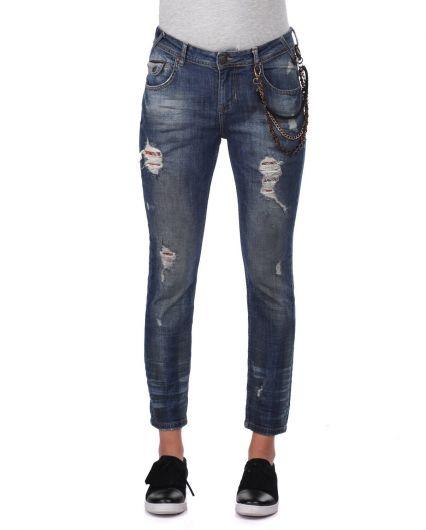Сине-белые женские джинсовые брюки с цепочкой - Thumbnail