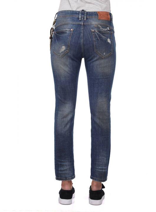 Сине-белые женские джинсовые брюки с цепочкой