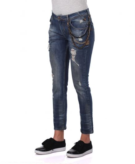 BLUE WHITE - Blue White Women's Chain Detailed Jean Trousers (1)