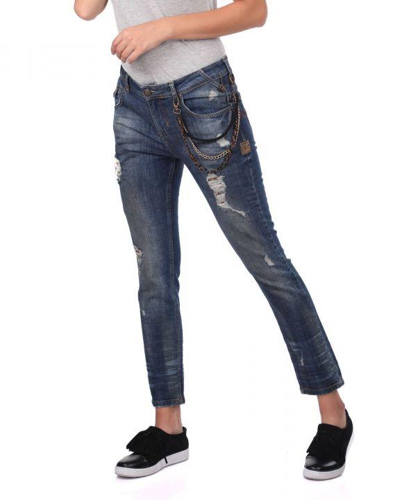 Blue White Women's Chain Detailed Jean Trousers