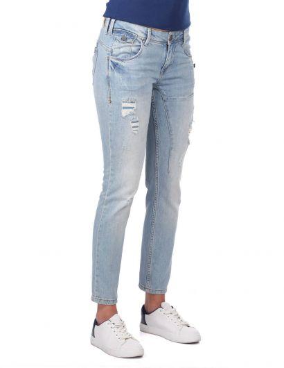 BLUE WHITE - Blue White Pocket Detailed Women's Jean Trousers (1)