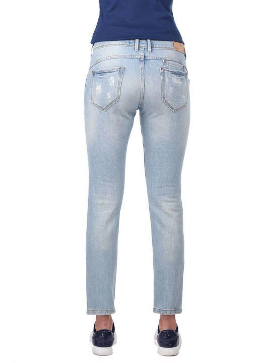 Blue White Pocket Detailed Women's Jean Trousers