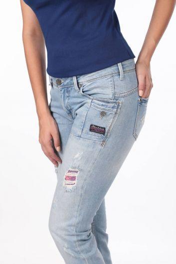 Blue White Pocket Detailed Women's Jean Trousers - Thumbnail