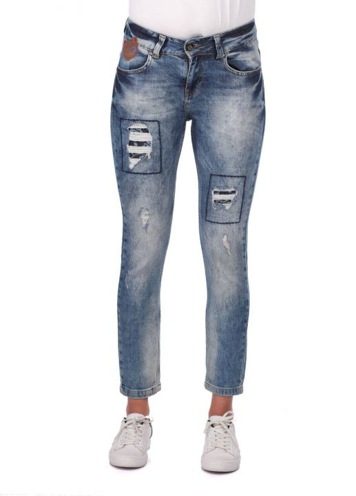 Blue White Women's Ripped Patterned Jean Trousers
