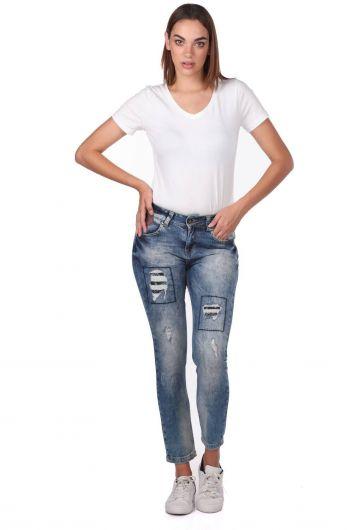Blue White Women's Ripped Patterned Jean Trousers - Thumbnail