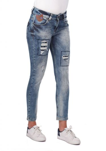BLUE WHITE - Blue White Women's Ripped Patterned Jean Trousers (1)