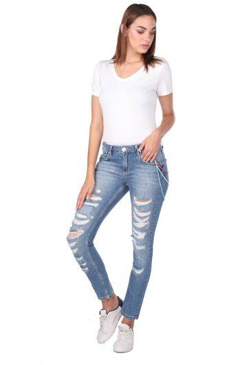 بنطلون جينز نسائي ممزق أبيض أزرق - Thumbnail