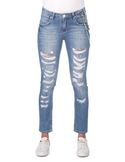 Blue White Ripped Women Jean Trousers - Thumbnail