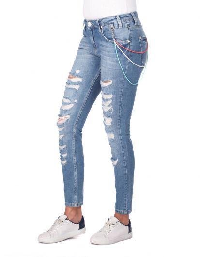 BLUE WHITE - Голубые белые рваные женские джинсовые брюки (1)
