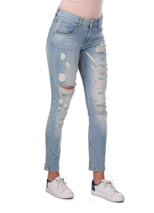 Blue White Women's Ripped Jeans